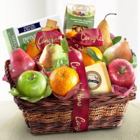 AP8019C, Congratulations Fruit Basket with Cheese and Nuts