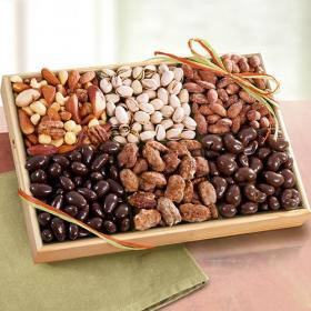 AP8022, Savory, Sweet and Chocolate Deluxe Nuts Gift Tray