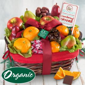 RA4012, Organic Fruit and Gourmet Holiday Gift Basket
