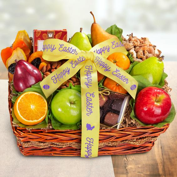 AA4094Easter, Happy Easter Orchard Delight Fruit and Gourmet Basket