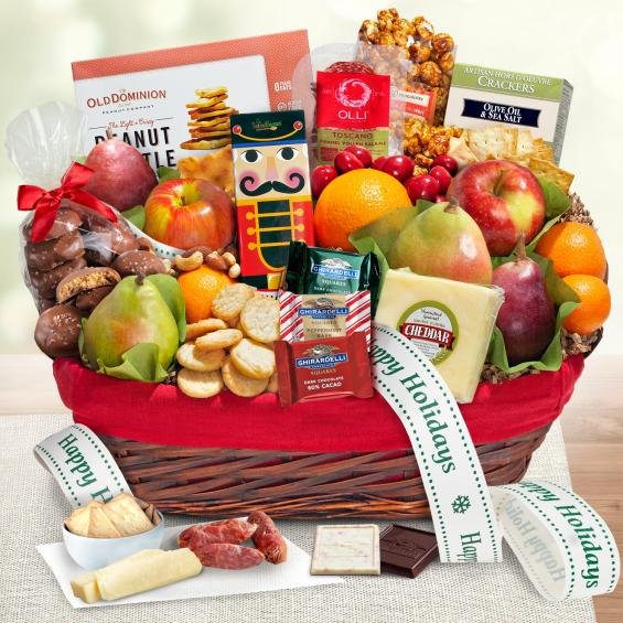 AA5005H, Holiday Tidings Deluxe Gourmet Gift Basket with Happy Holidays Gift Ribbon