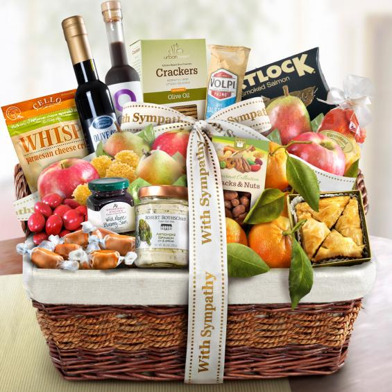 AA4018S, With Sympathy Generous Gourmet Market Favorites Fruit Basket