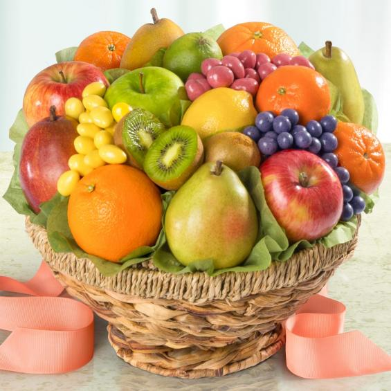 AA4036, Orchard Fresh Fruit and Chocolate Fruit Confections in Keepsake Fruit Bowl Basket