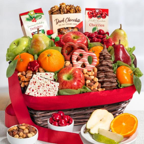 aa4048 holiday chocolate nuts and fresh fruit gift basket