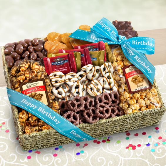 AA4056B, Happy Birthday Chocolate Caramel and Crunch Grand Gift Basket