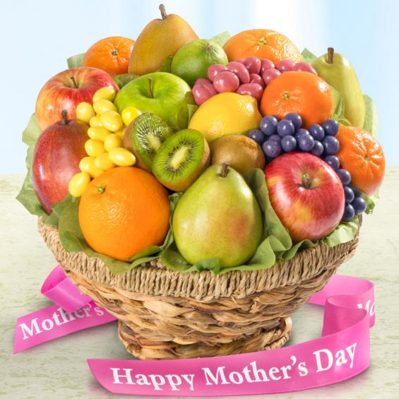 AA4070M, Mother's Day Fresh Fruit Basket and Chocolate Fruit Confections in Keepsake Woven Bowl