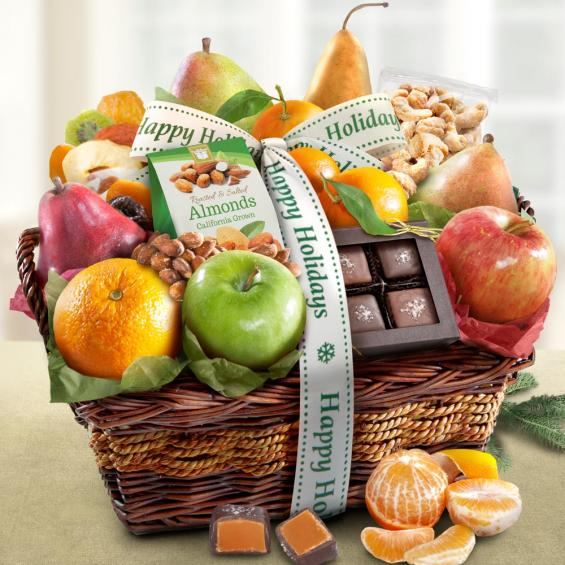 AA4094H, Happy Holidays Orchard Delight Fruit and Gourmet Basket