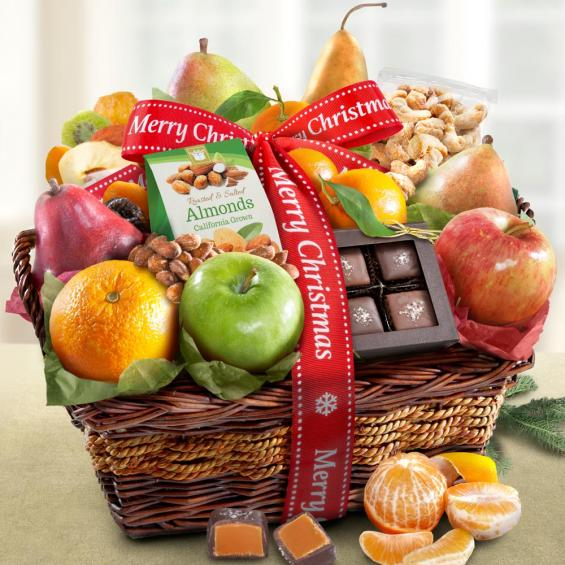 AA4094X, Merry Christmas Orchard Delight Fruit and Gourmet Basket