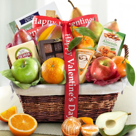 AA4101V, Happy Valentines Day Deluxe Fruit Basket