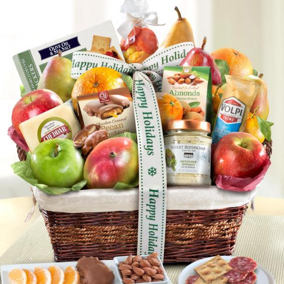 AA4102H, Happy Holidays Abundance Classic Fruit Basket