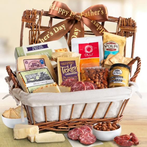AA5035F, Happy Father's Day Gourmet Cheese & Meats Hamper Gift Basket