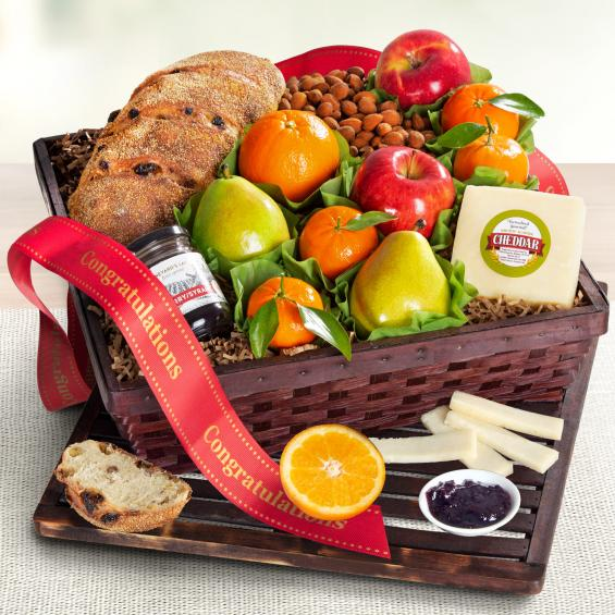 AA7020C, Congratulations Market Fresh Fruit, Cheese & Bread Gift Basket