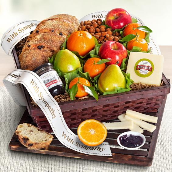 AA7020S, With Sympathy Market Fresh Fruit, Cheese & Bread Gift Basket