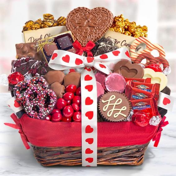 AA9001V, Valentine Chocolate Bliss Assortment Gift Basket