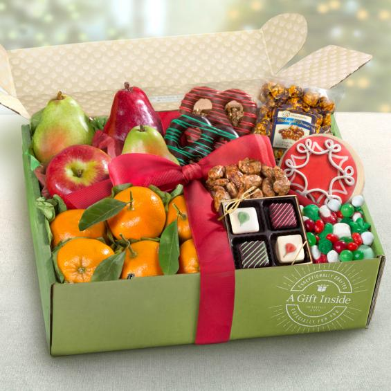 AB2045 Christmas Wishes Fruit u0026 Treats Gift Box No Selection & Christmas Wishes Fruit u0026 Treats Gift Box - AB2045 - A Gift Inside