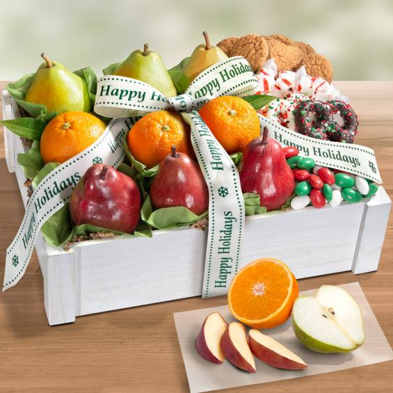 AC2085H, Happy Holidays Winter Wonderland Fruit & Treats Gift Basket Crate