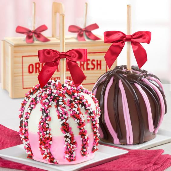 ACA1016, Love Chocolate Covered Caramel Apples Pair in a Wooden Gift Crate