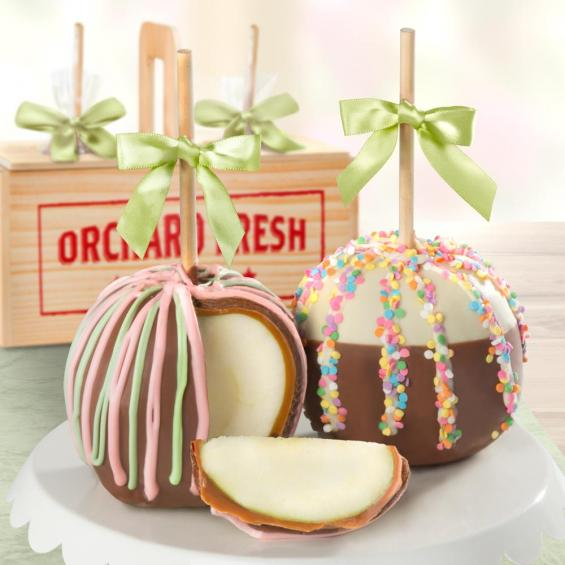 ACA1017, Sweet Celebration Chocolate Covered Caramel Apples Pair in a Wooden Gift Crate
