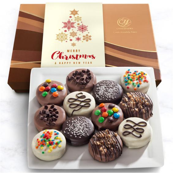 Merry Christmas Deluxe Chocolate Dipped Oreos Gift Box 12 Pc