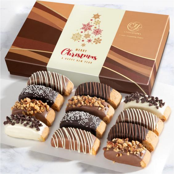 ACC1020X, Christmas Holiday Classic Chocolate Dipped Biscotti Gift Box - 12 pc