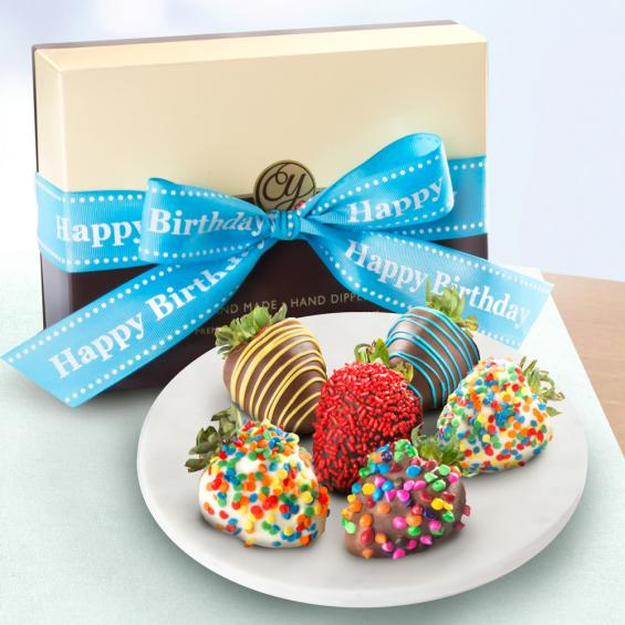 ACD1006, Happy Birthday Chocolate Dipped Strawberries - 6 Berries