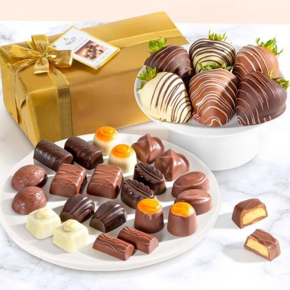 ACD1013-PRALINE, 6 Chocolate Covered Strawberries and Belgian Pralines Gift Box