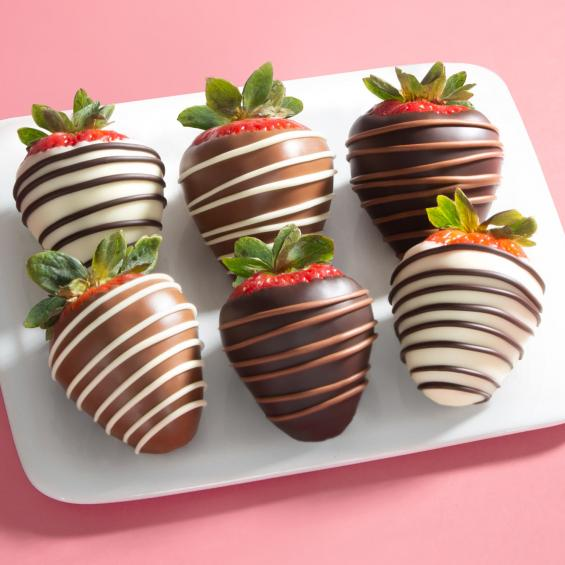 ACD1013, Chocolate Trio Dipped Strawberries - 6 Berries