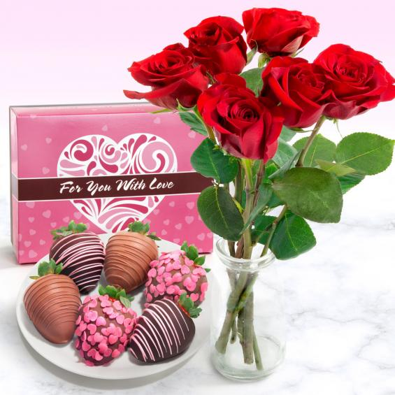 ACD1015-ROSES, 6 Belgian Chocolate Covered Love Strawberries and 6 Fresh Red Roses