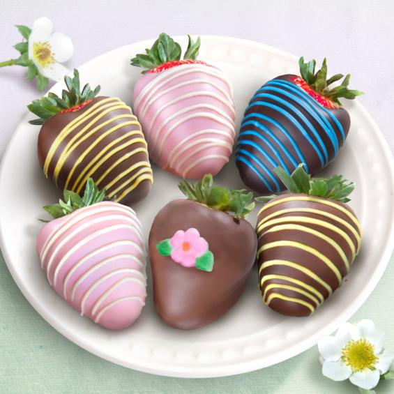 ACD1021, Joy of Spring Chocolate Covered Strawberries - 6 Berries