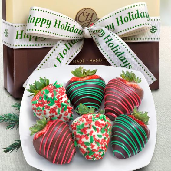 acd1030 6 holly jolly christmas chocolate covered strawberries with happy holidays ribbon - Christmas Chocolate Covered Strawberries