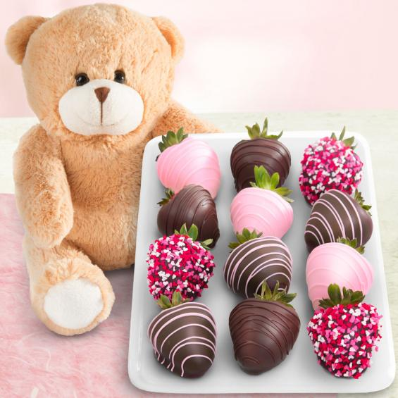 "ACD2001BEAR, 12 Love Berries Chocolate Covered Strawberries with a 9"" Plush Bear"