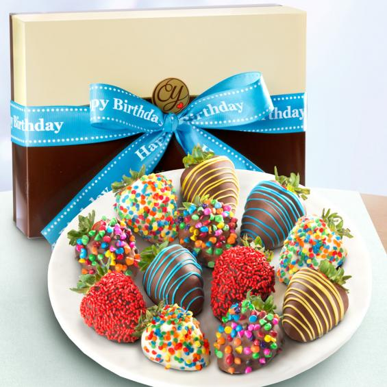 ACD2006, Happy Birthday Chocolate Dipped Strawberries - 12 Berries
