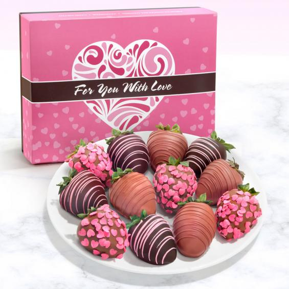 12 Belgian Chocolate Covered Strawberries In With Love For You Box Acd2015 A Gift Inside