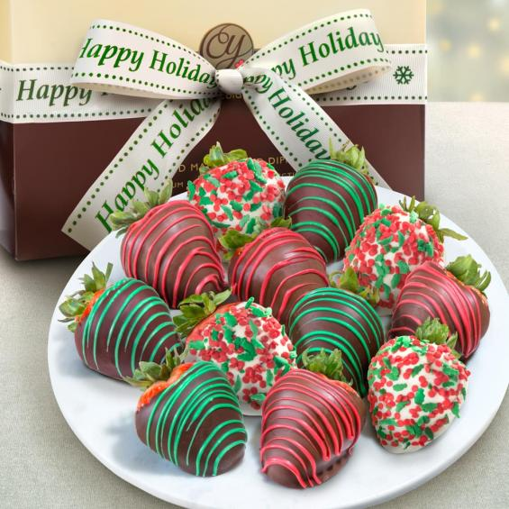 ACD2030, 12 Holly Jolly Christmas Chocolate Covered Strawberries with Happy Holidays Ribbon