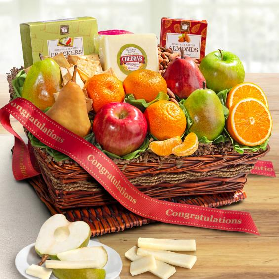 AP8019C, Congratulations Cheese and Nuts Classic Fruit Basket