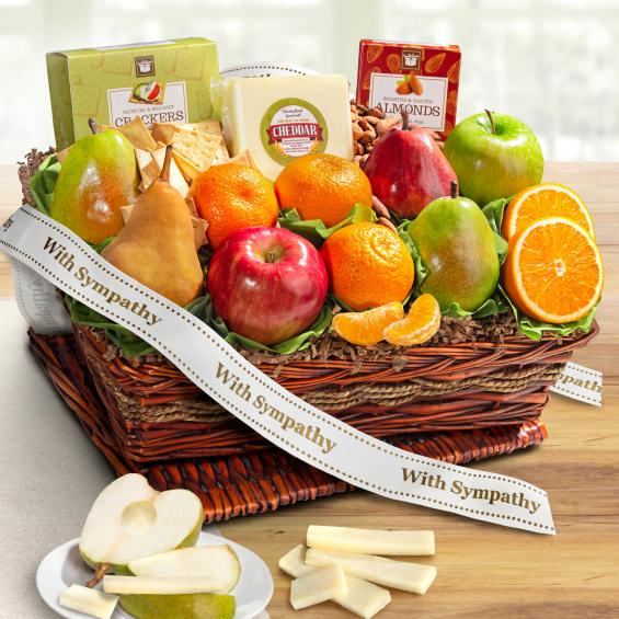 AP8019S, Sympathy Cheese and Nuts Classic Fruit Basket