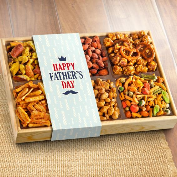 AP8029F, Father's Day Crunch 'n Munch Snack & Nut Variety Tray Gift Box
