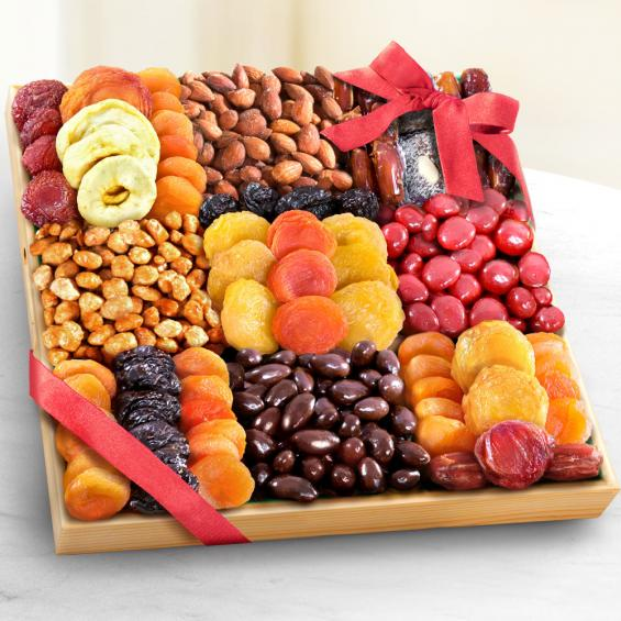 AP8044, Sweet Extravagance Deluxe Chocolate, Nuts & Fruit Tray
