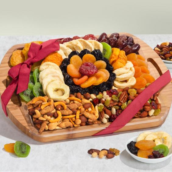 AP8076, Dried Fruit and Gourmet Snacks Gift on Bamboo Cutting Board Serving Tray with Handles