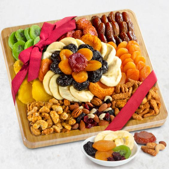 AP8076, Platter of Plenty Dried Fruit & Nuts Gift