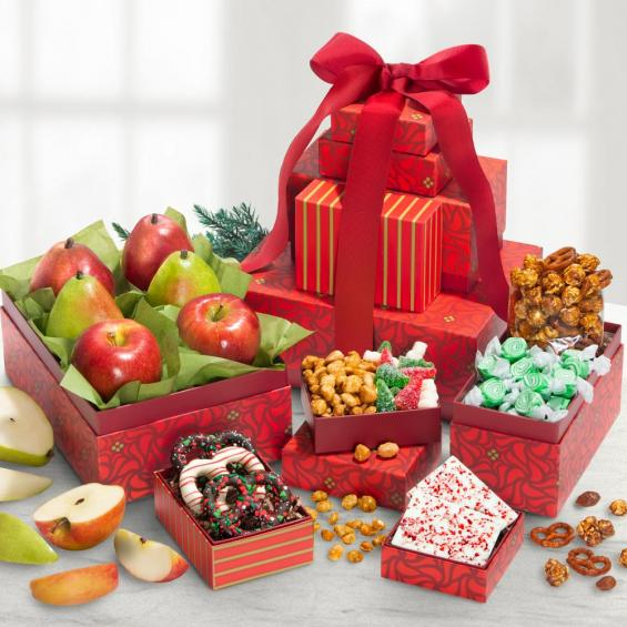 AT0250, Festive Holiday Favorites Fruit and Sweets 5 Box Tower