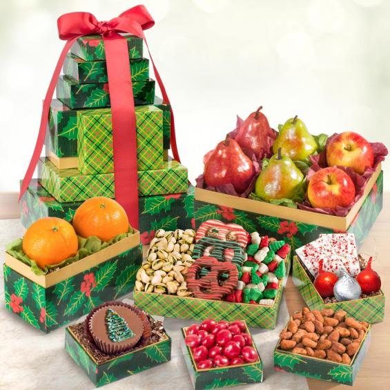 AT0255, Holly Jolly Best Deluxe Fruit and Treats Holiday Tower