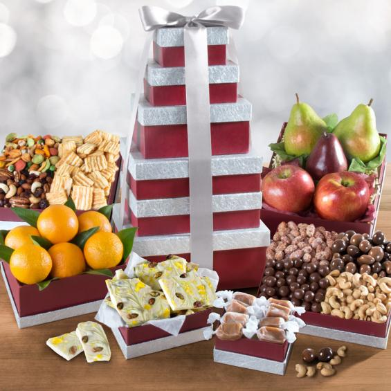 ATC0243, Layers of Abundance Fruit, Gourmet & Nuts Tower