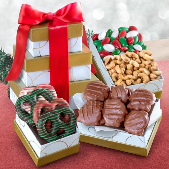 ATC0300, Gourmet Greetings Holiday Chocolate and Nut Tower