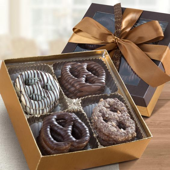 CY1023R, Chocolate Dipped Large Pretzels Gift Box, 16 Ct