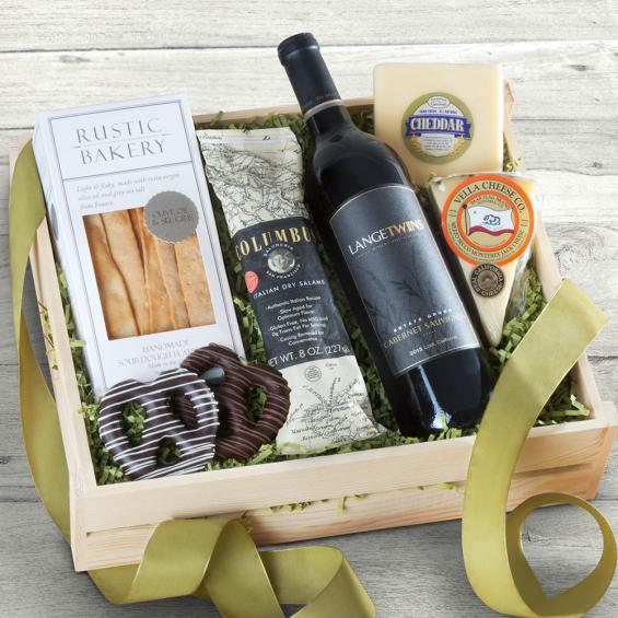 FG2000, Epicurean Wine, Meat and Cheese Gift Crate with LangeTwins Cabernet Sauvignon