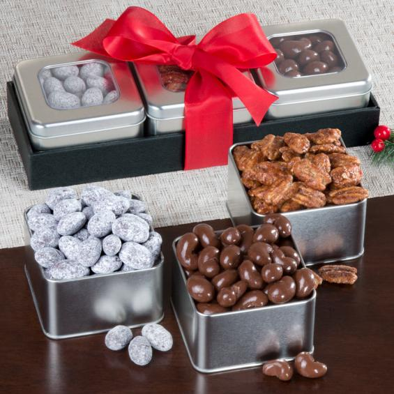 GS1001, Sweet and Chocolate Covered Nuts Tin Trio Set
