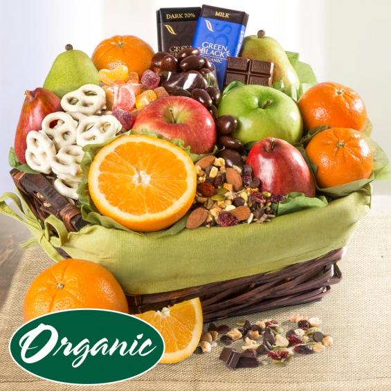 RA4002, Organic Fruit, Sweets & Snacks Gift Basket