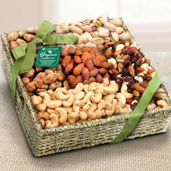 Mendocino Organic Nut Gift Basket - RA4009 - A Gift Inside