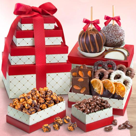 ATC0307, Chocolate Perfection Gift Tower with Caramel Apples